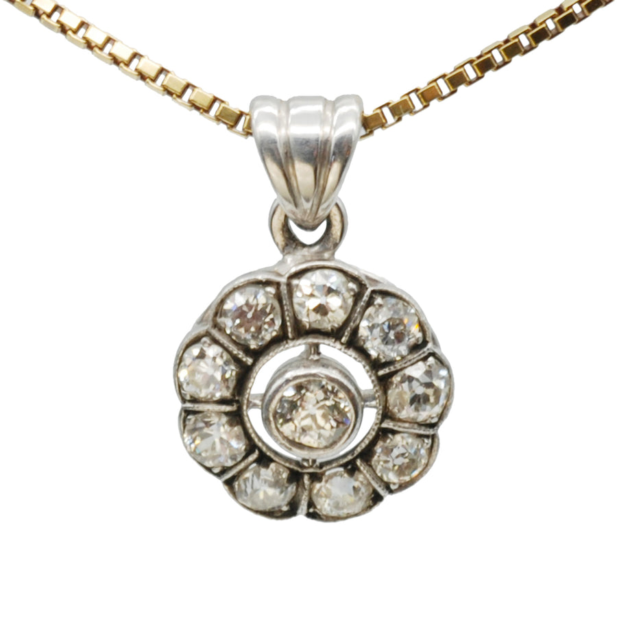 Edwardian 18ct Gold and silver Diamond cluster pendant
