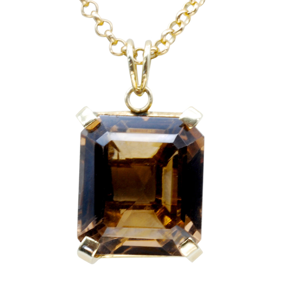 Vintage Smoky Quartz and 14ct gold pendant