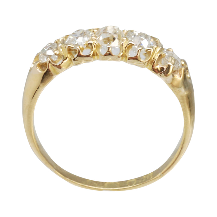 Victorian 18ct Gold Graduated Half Hoop Diamond Ring