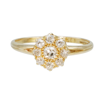 18ct  Antique Yellow Gold and Diamond cluster ring.