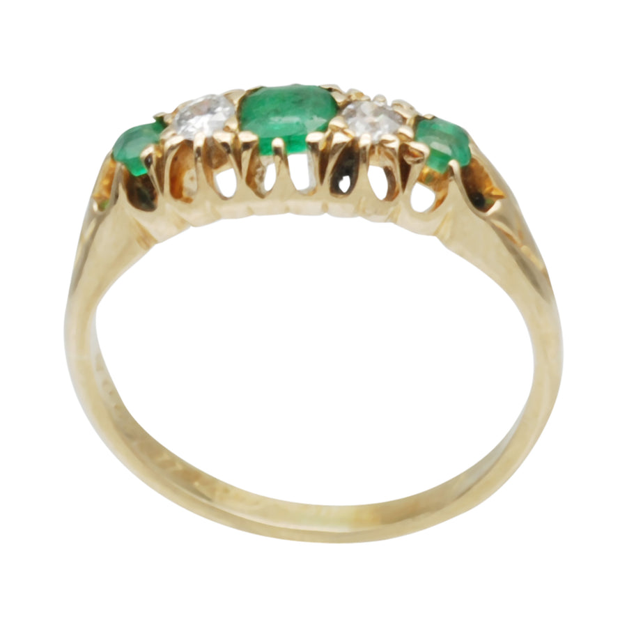 18ct Antique Gold Edwardian Emerald and Diamond 5 stone ring .