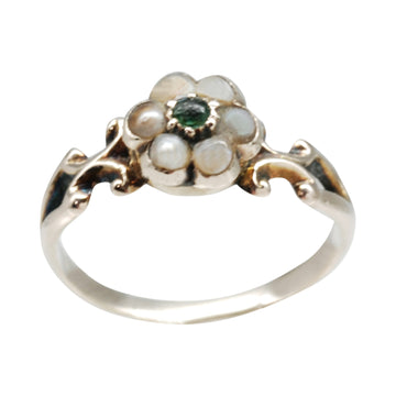 Early Victorian  Gold, Pearl and Emerald ring