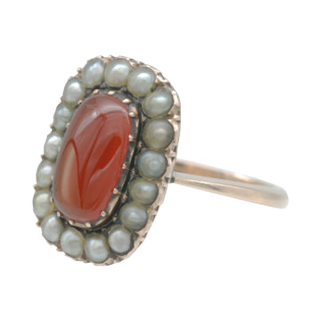 Georgian carnelian and seed pearl ring