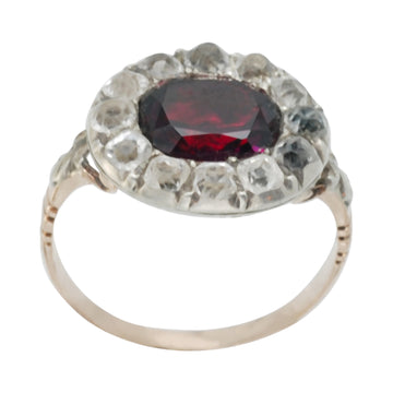 Georgian 15 ct Gold  Almandine Garnet and Paste Ring