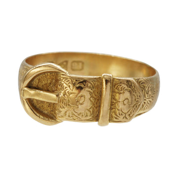 Early Victorian 18ct Gold Buckle Ring Hallmarked Newcastle 1855