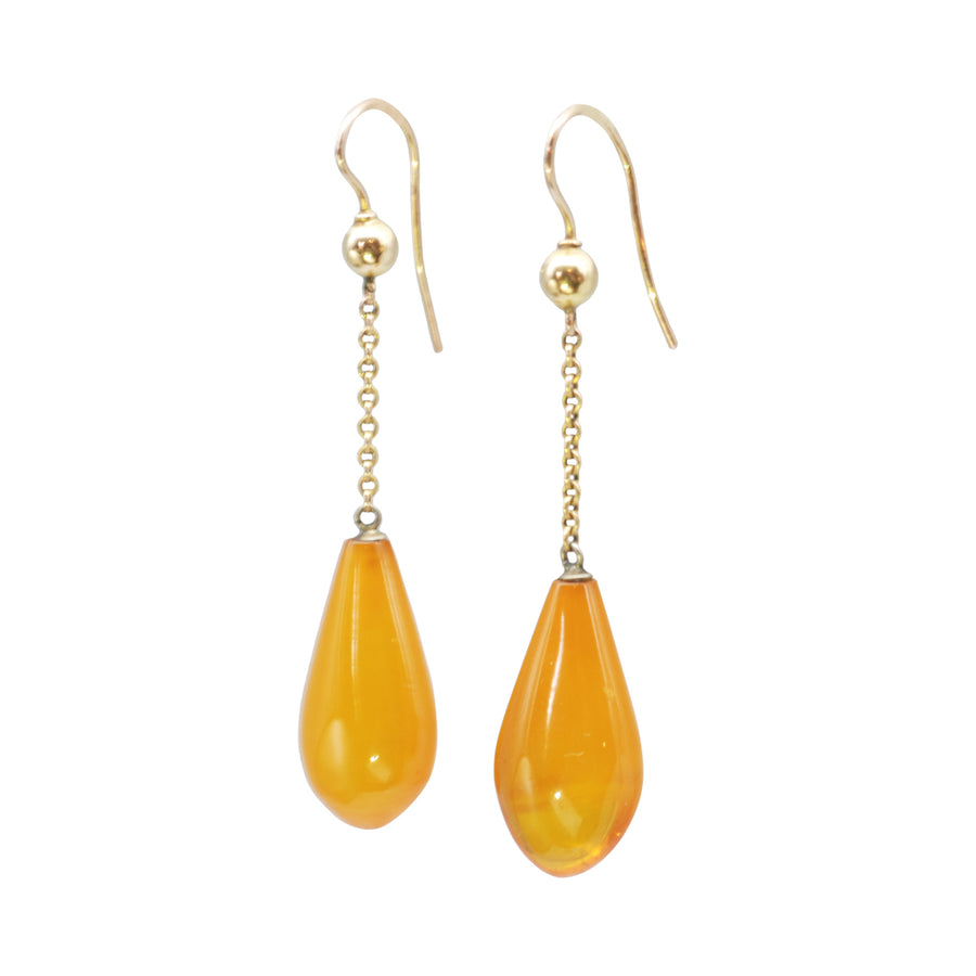 Victorian 9ct drop Amber earrings