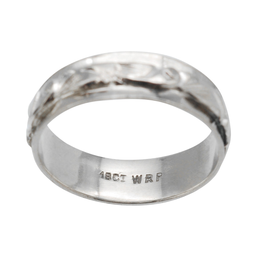 18ct white gold engraved band
