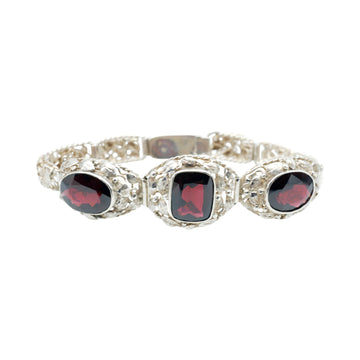 Arts and Crafts silver and almandine Garnet bracelet.