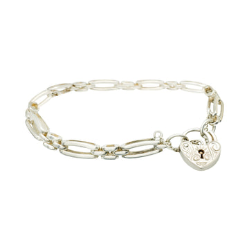 Sterling Silver Gate Link Bracelet with Heart Padlock
