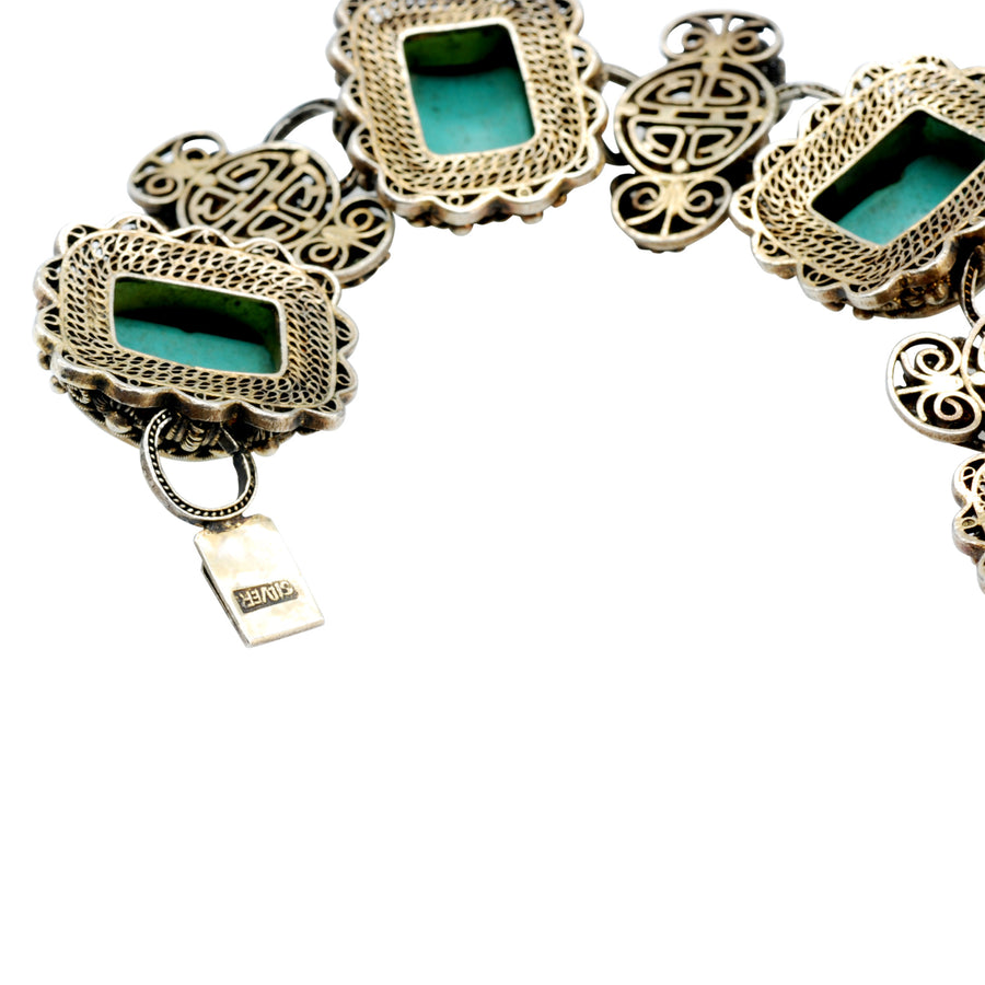 Early 20th Century Chinese turquoise and Silver bracelet