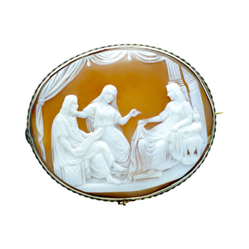 Large Antique Silver and Carved Shell Cameo.