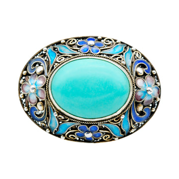 Mid Century  Chinese Cloisonné  and Turquoise brooch