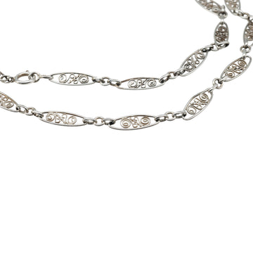 Antique Edwardian Fancy link French Silver long chain