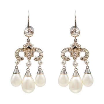 Edwardian Silver and Paste Chandelier Faux Pearl Earrings.
