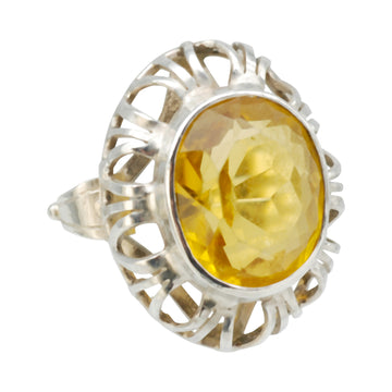 Large Vintage Handmade Citrine and Silver Ring