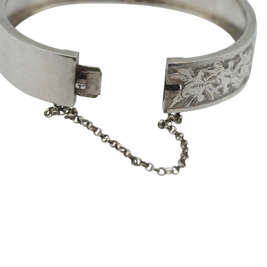 Antique Sterling Silver Detailed Engraved Cuff Bracelet