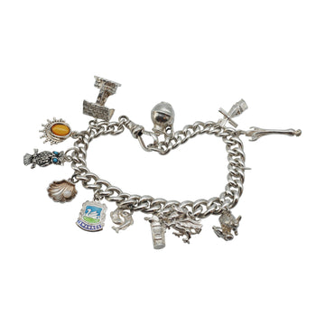 Victorian Sterling Silver Charm Bracelet with variety of Charms.