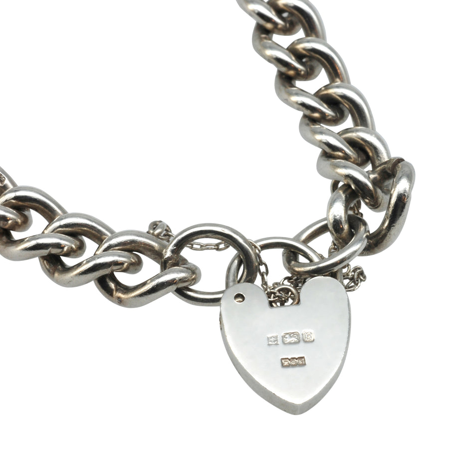 Mid Century Silver Curb Link Bracelet with Padlock
