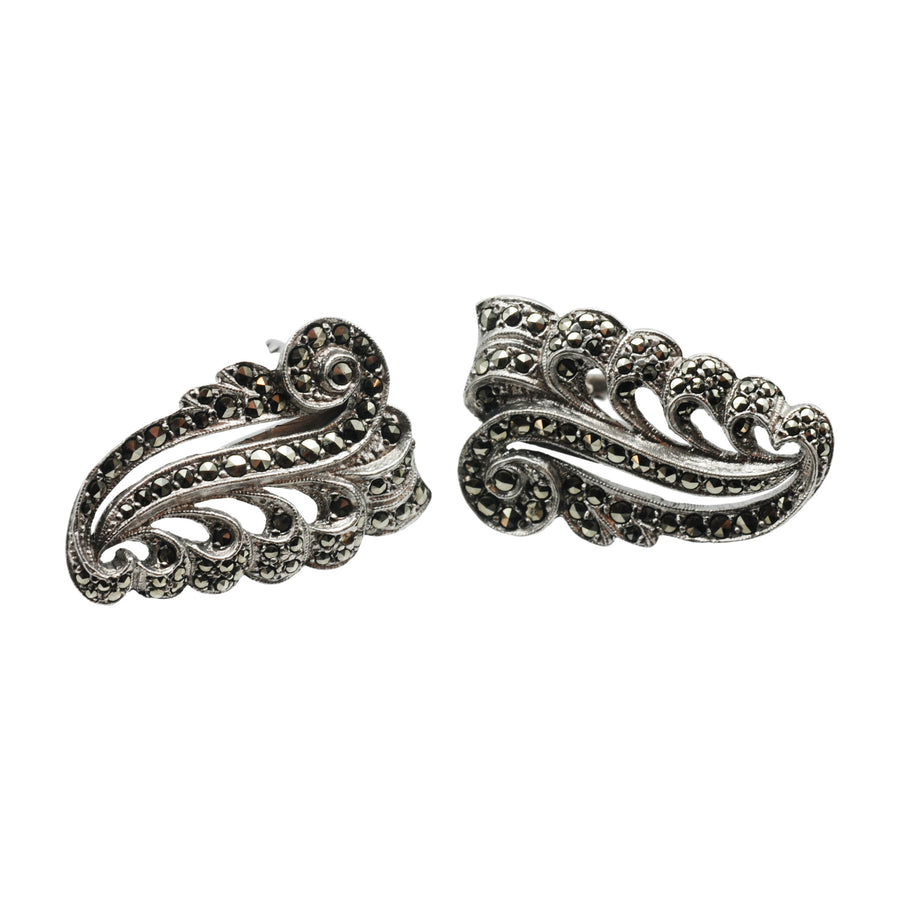 Mid-Century Sterling Silver & Marcasite Double Clip Brooch.