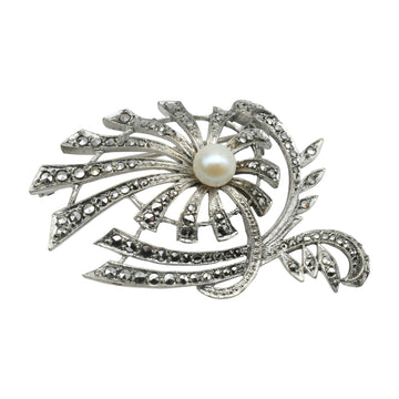Vintage Silver, Marcasite and Pearl brooch