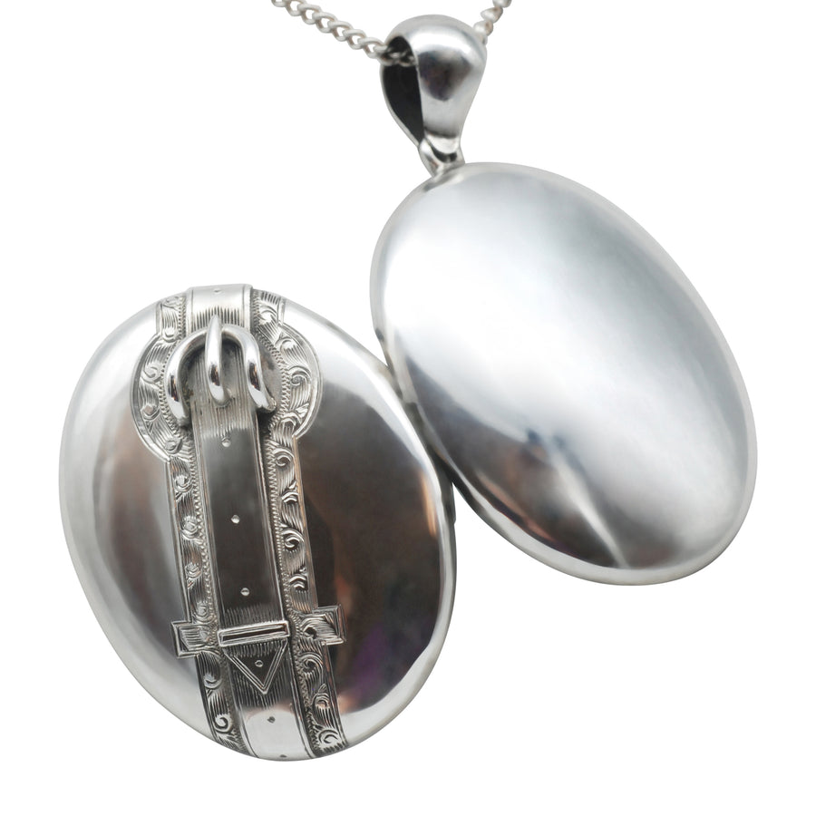 Victorian Silver engraved Belt and Buckle Locket