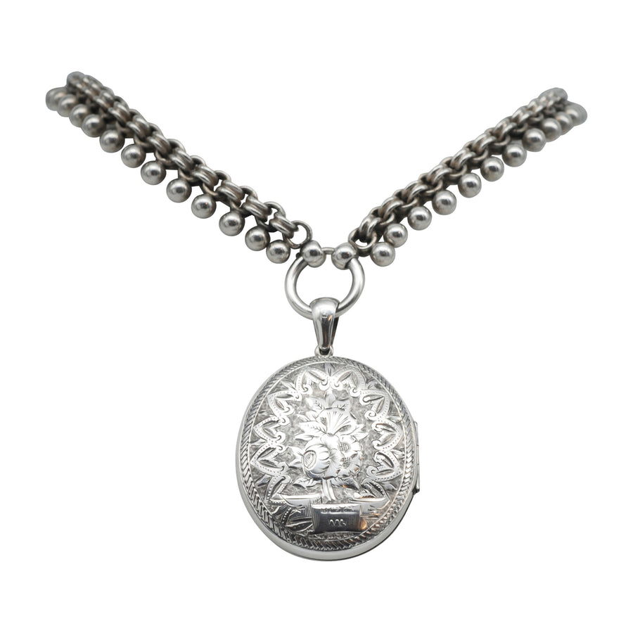 Victorian Sterling Silver Collar and Locket Set.