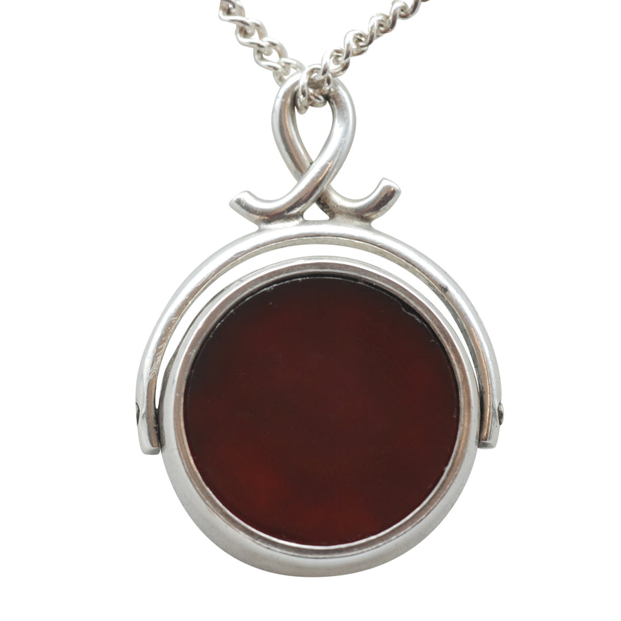 Edwardian Silver Bloodstone and Carnelian Swivel Fob.