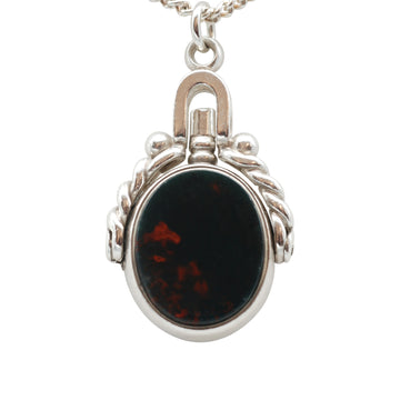 Victorian Silver Bloodstone and Carnelian Swivel Fob and watch key.