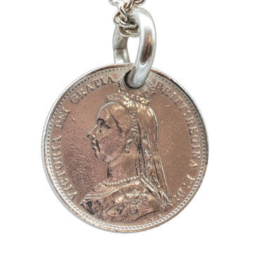 Victorian Silver Sixpence Charm.