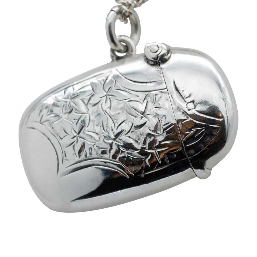 Sterling Silver Bean Shaped Vesta/Pendant