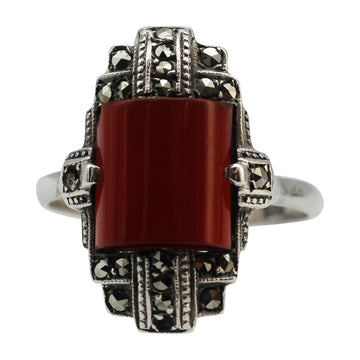 Vintage Silver Marcasite and Carnelian Ring