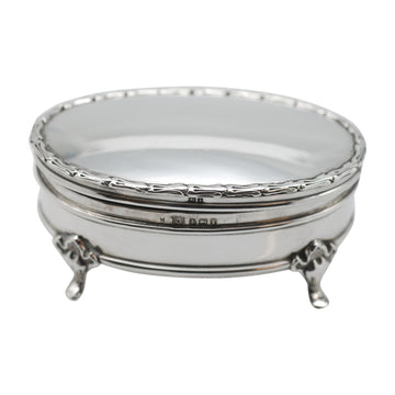 Edwardian Sterling Silver Oval Footed Jewellery Box - front