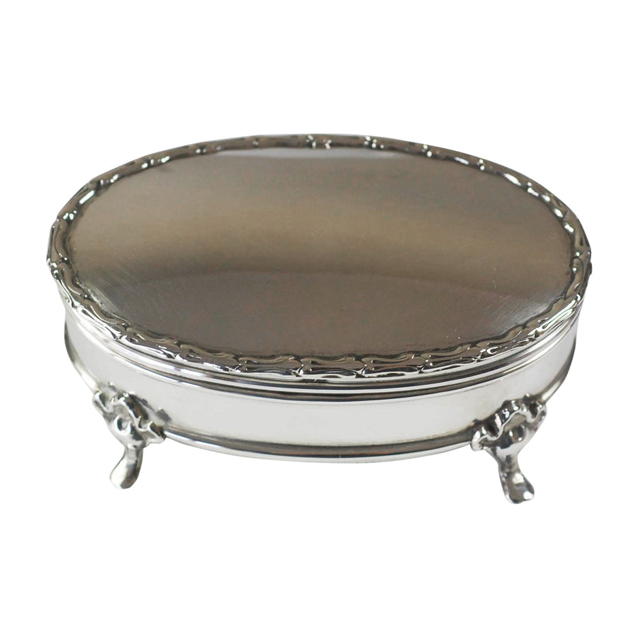 Edwardian Sterling Silver Oval Footed Jewellery Box - top view