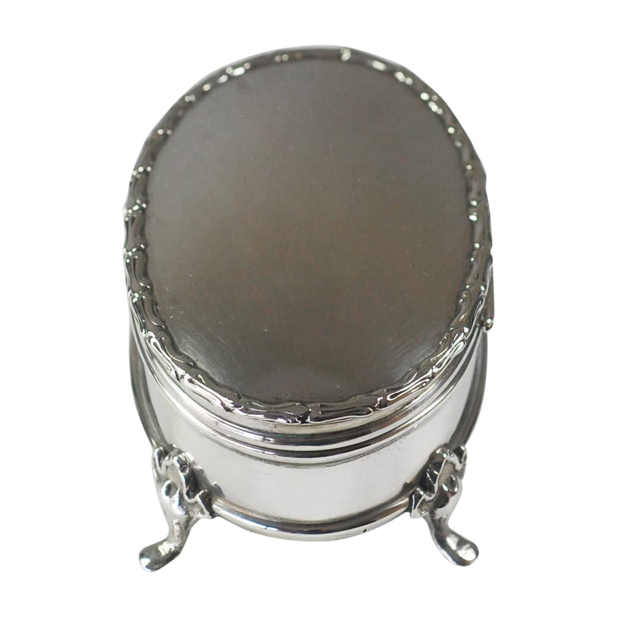 Edwardian Sterling Silver Oval Footed Jewellery Box - top side view