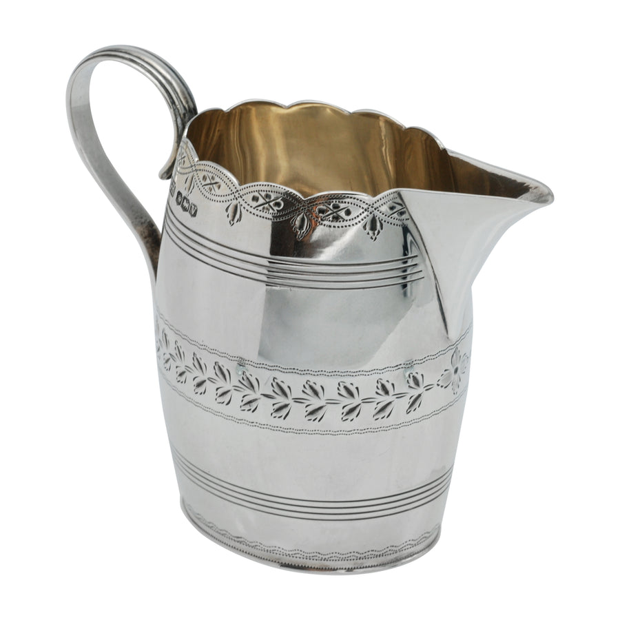 Sterling Silver Bright Cut Cream Jug - side