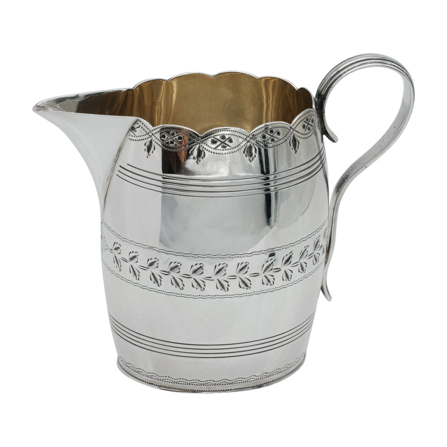 Sterling Silver Bright Cut Cream Jug - side 2