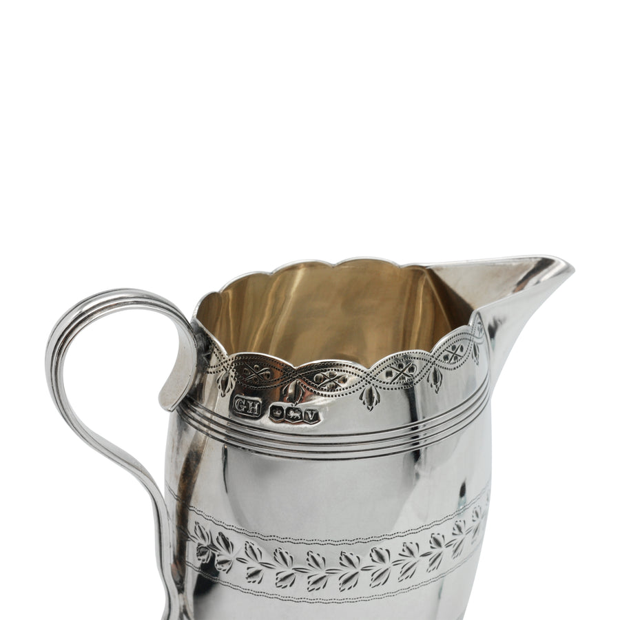 Sterling Silver Bright Cut Cream Jug - top