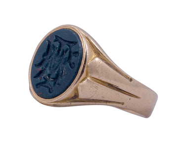 Antique 18ct Yellow Gold Bloodstone Signet Ring