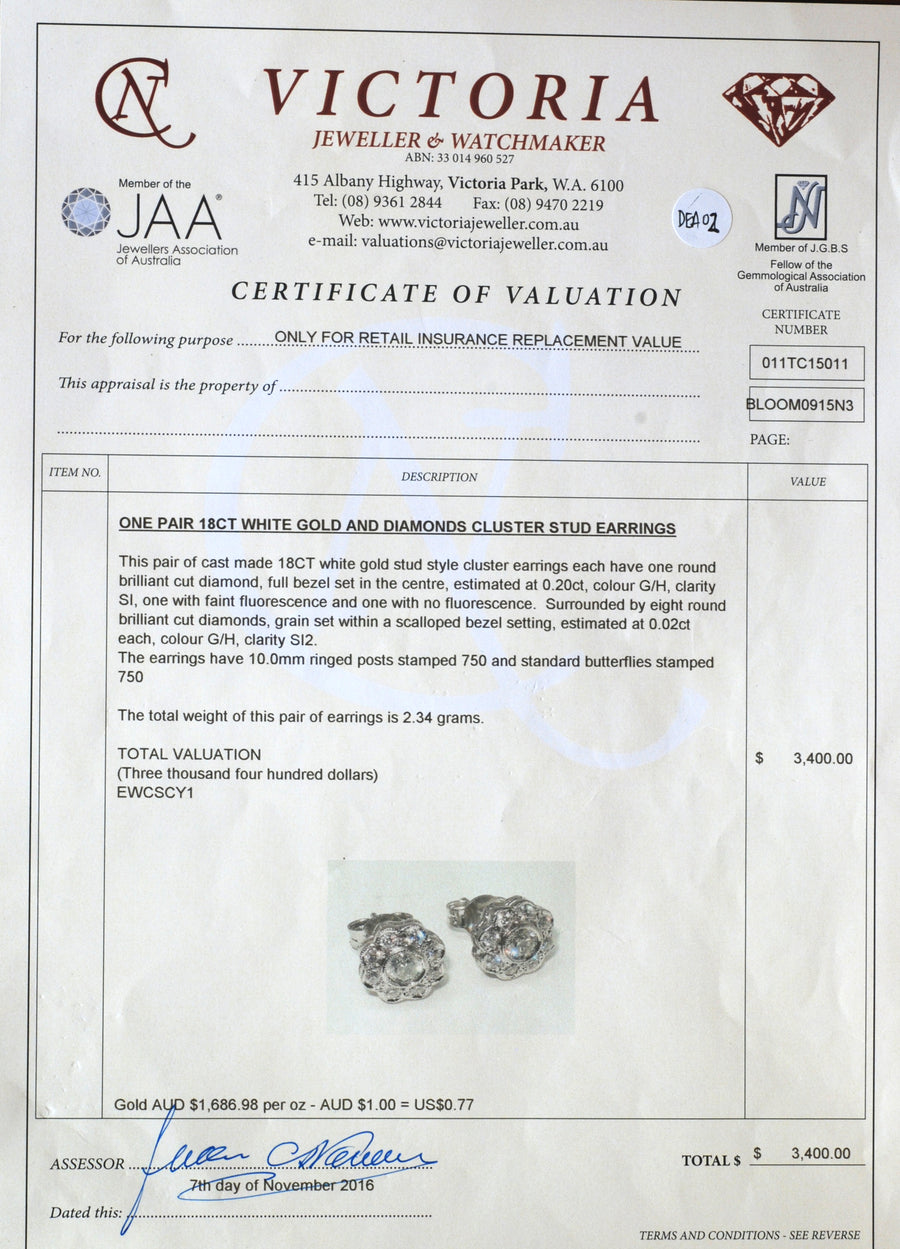 18ct White Gold Bespoke Diamond Cluster Earrings - Certificate of Verification