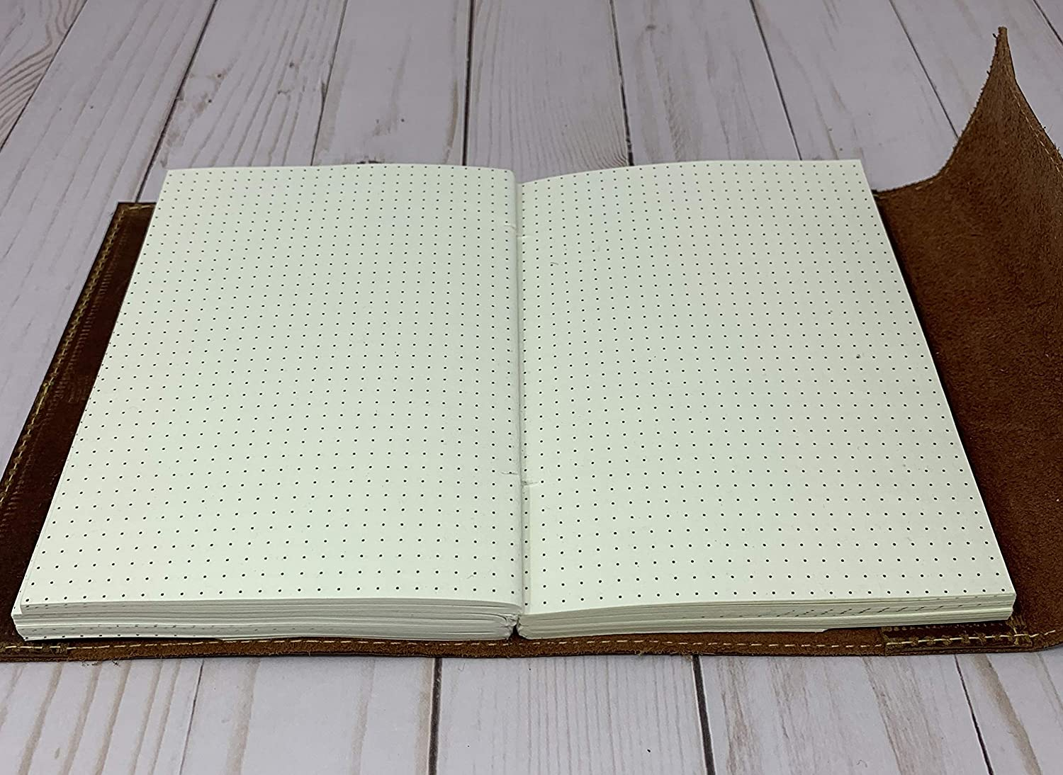 Tuk Tuk Press®  Handmade Leather Journal, 200 Tree Free Thick Recycled Cotton Dotted Pages, Refillable