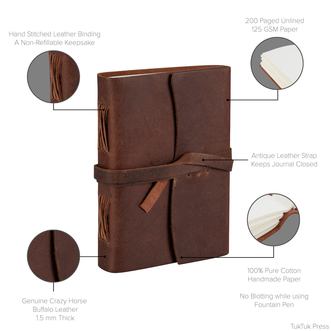 Handmade Leather Oil Journal, 200 Thick Unlined Recycled Cotton Pages