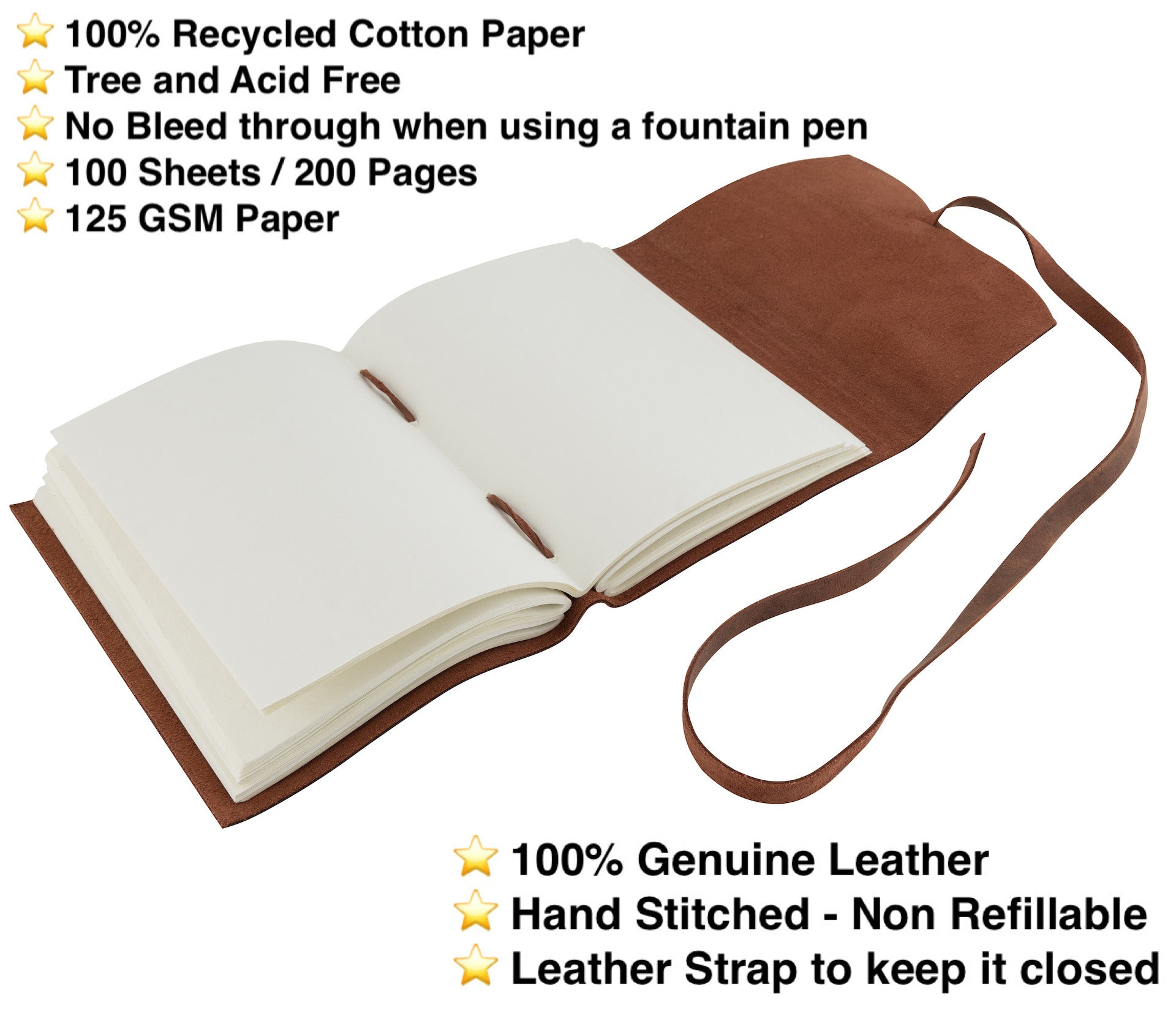Handmade Leather Flap Journal, 200 Thick Unlined Recycled Cotton Pages