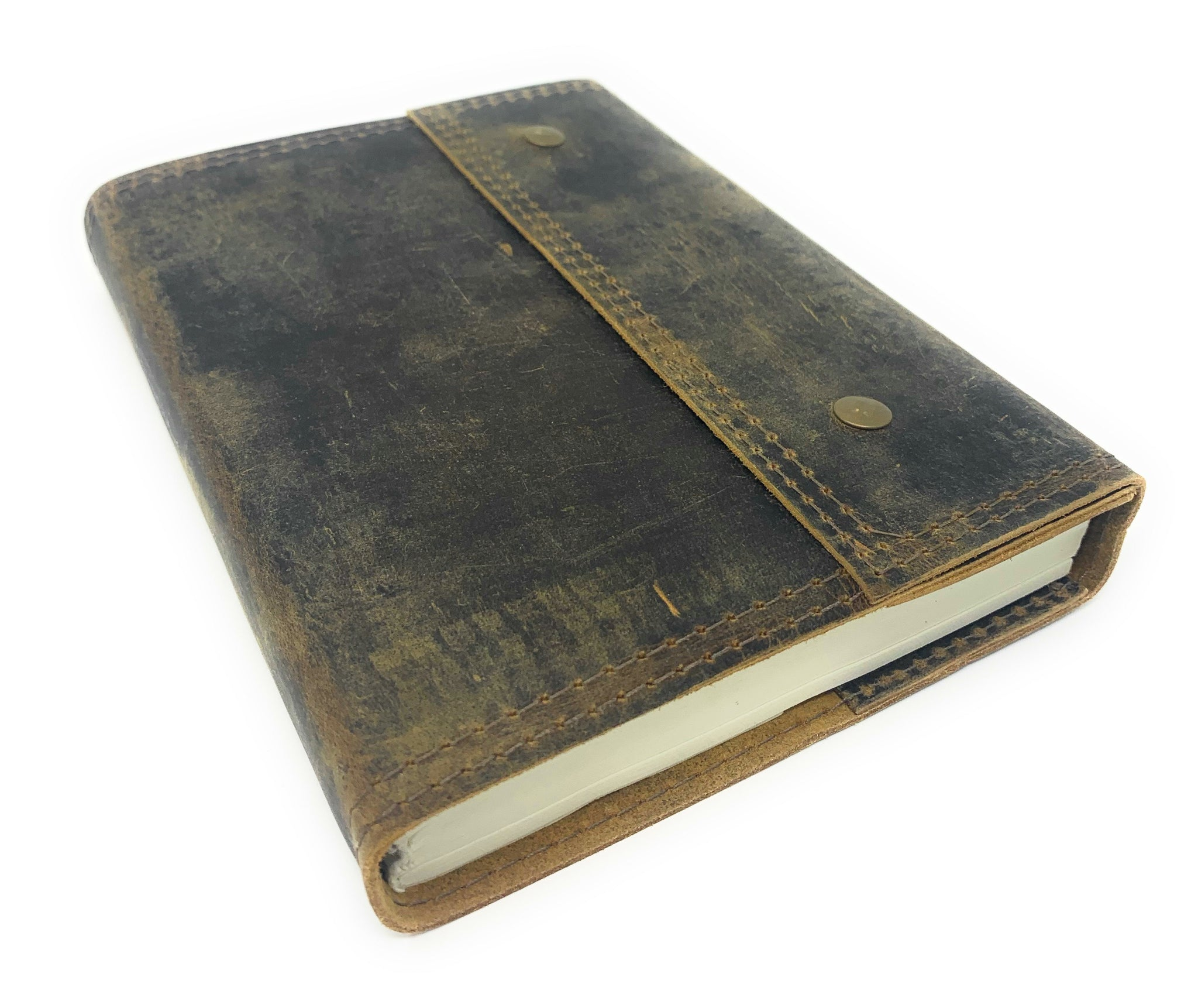 Antique Vintage Leather Journal, Gabriel Edition, 200 Blank Cotton Pages
