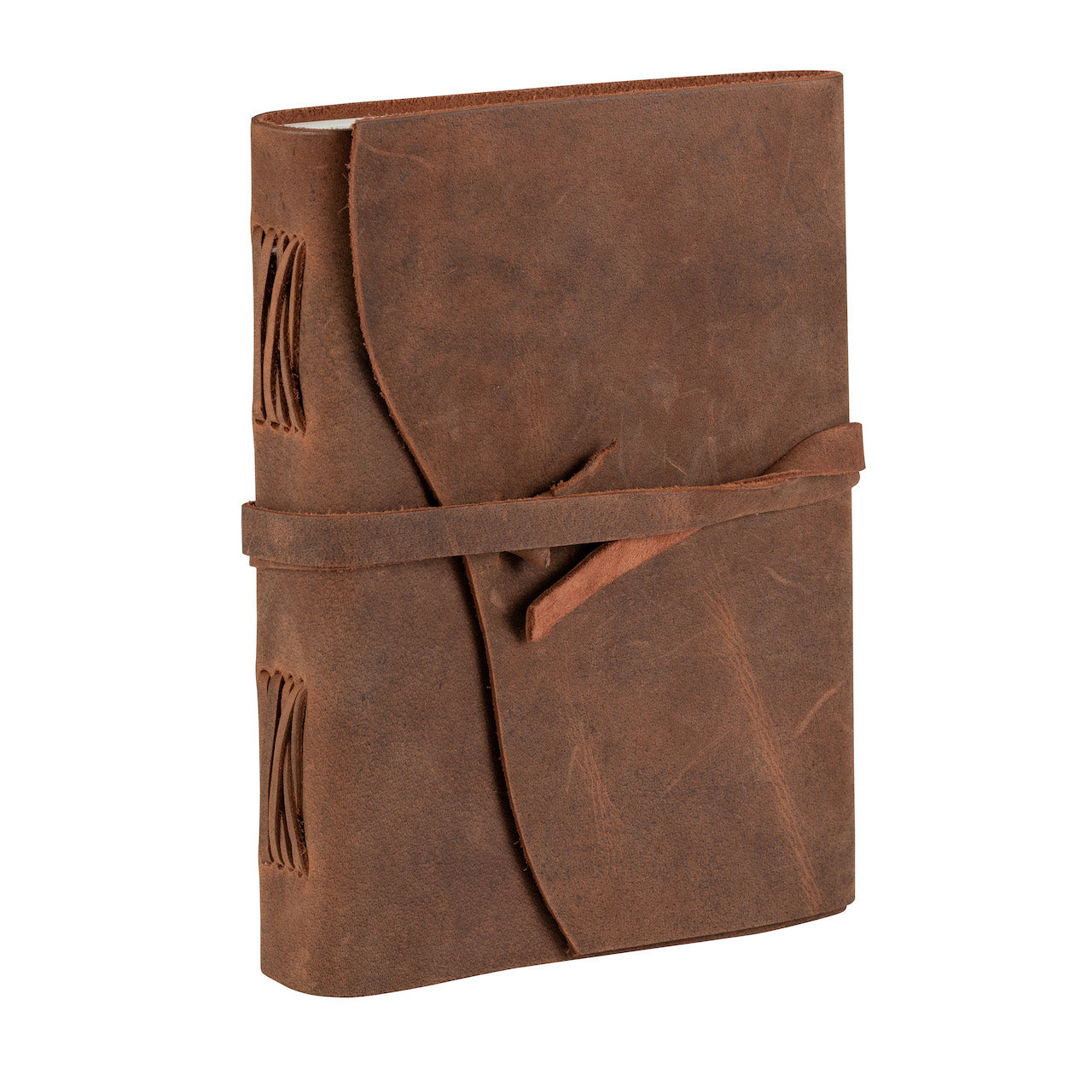 Tuk Tuk Press Antique Light Tan Buffalo Leather Journal. Journal has a full strap and is closed.