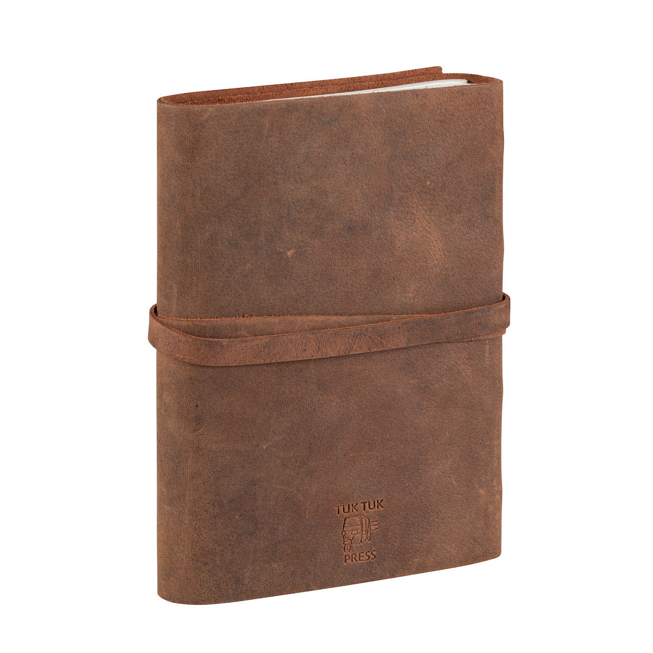 Back photo of a light tan Tuk Tuk Press buffalo leather handmade journal.