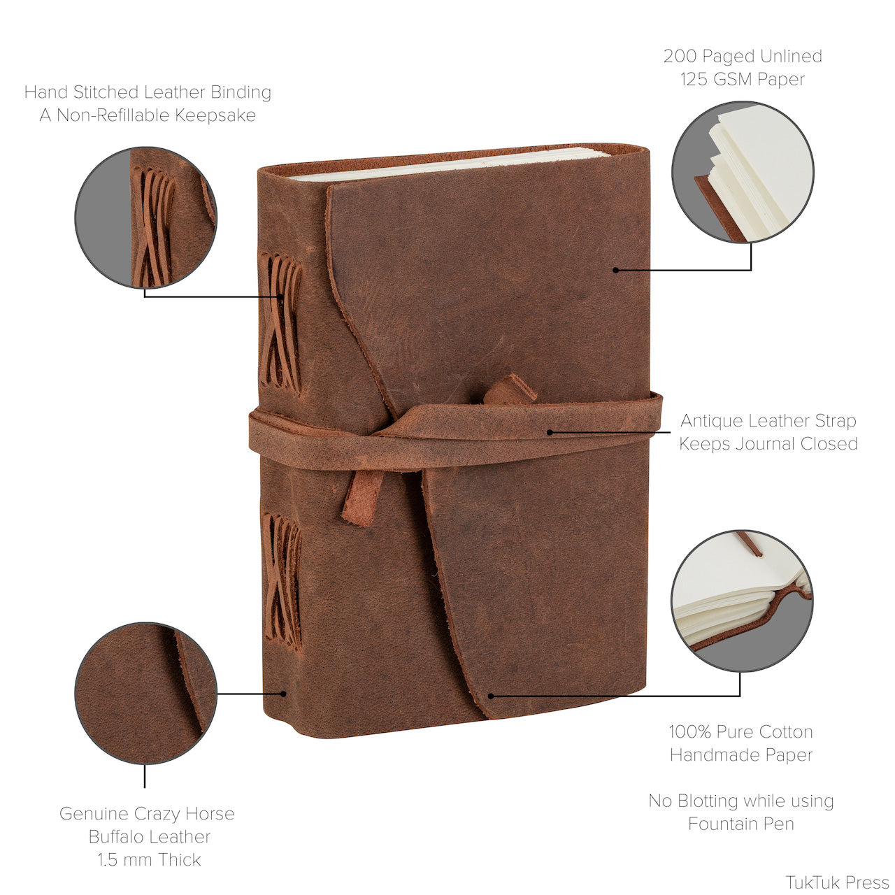 Product highlights of Tuk Tuk Press light tan antique buffalo leather journal.