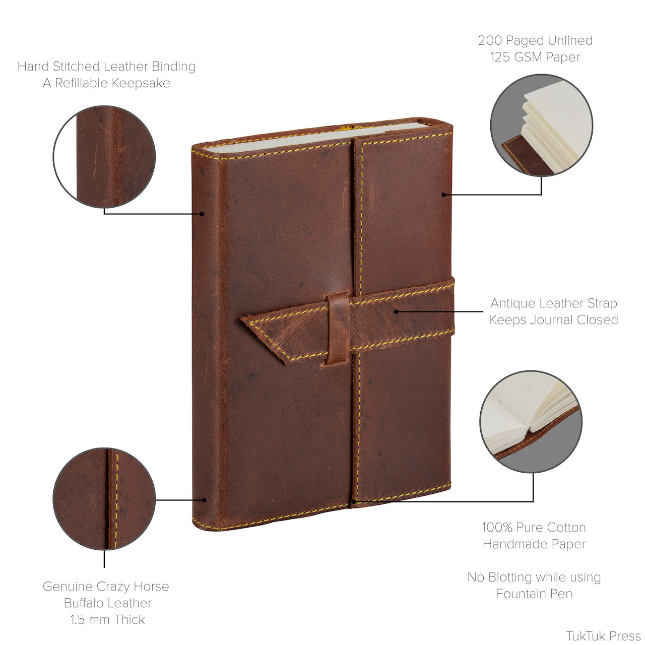 Handmade Luxury Pull-up Journal, 200 Thick Unlined Recycled Cotton Pages, Refillable