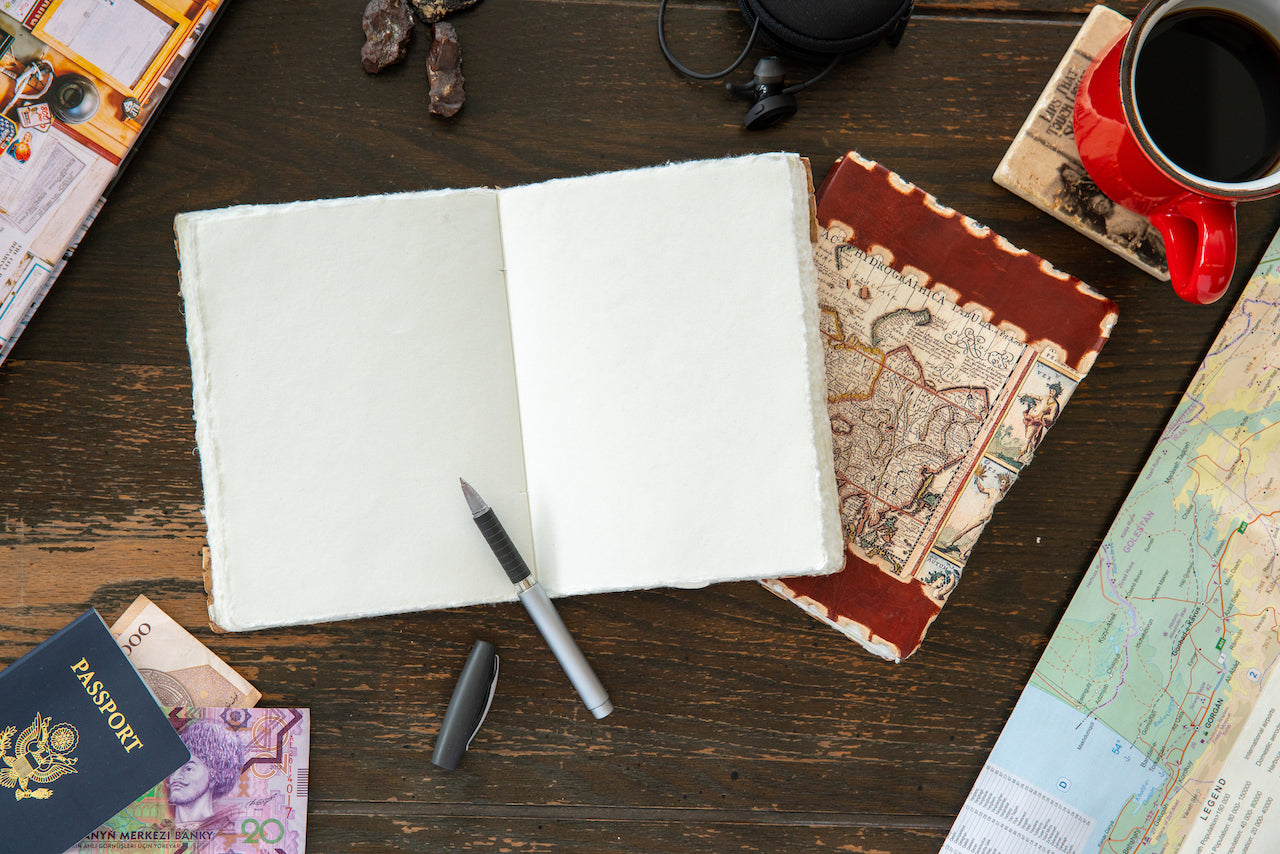 Tuk Tuk Press® Handmade Leather Journal with 144 Hand Pulled Cotton Pages, Vintage American Map