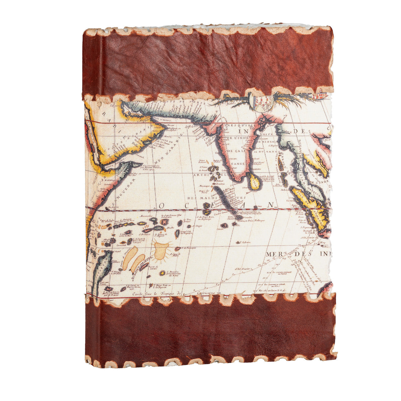 Handmade Leather Journal with 144 Hand Pulled Cotton Pages, Vintage World Map