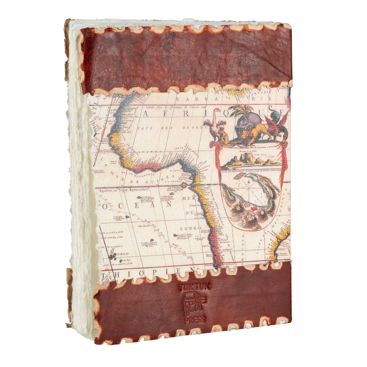 Tuk Tuk Press® Handmade Leather Journal with 144 Hand Pulled Cotton Pages, Vintage World Map